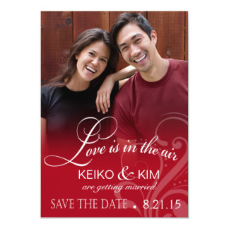 Love Mist Photo Save the Date | red Card