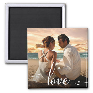 Love Modern Calligraphy Script Photo Magnet