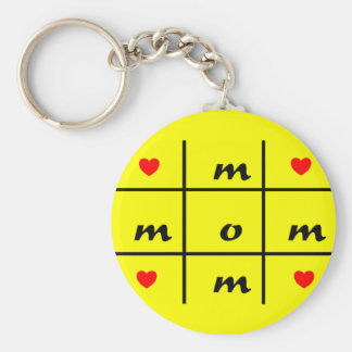 Love Mom Basic Round Button Keychain