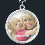 """Love Mom Photo Necklace<br><div class=""""desc"""">Beautiful pendant customizable with your photo and personal message.. Makes a great holiday gift..</div>"""