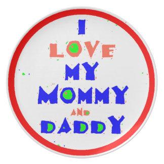 Love Mommy Daddy Dinner Plate