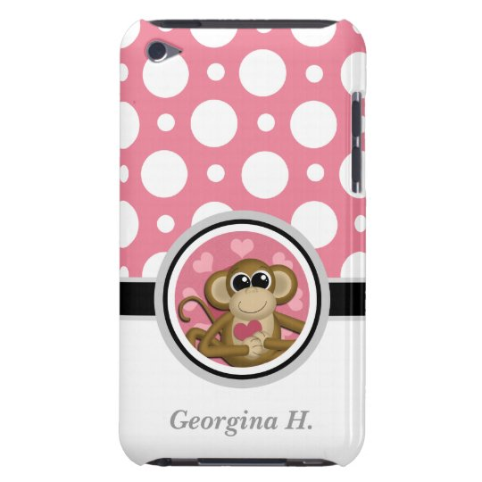 Love Monkey Pink & White Polka Dot iPod Touch 4G Barely There iPod Case