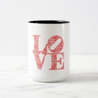 LOVE monogram sign Two-Tone Coffee Mug