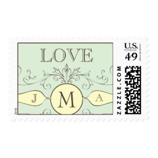Love Monogram Wedding Postage Stamps Cream