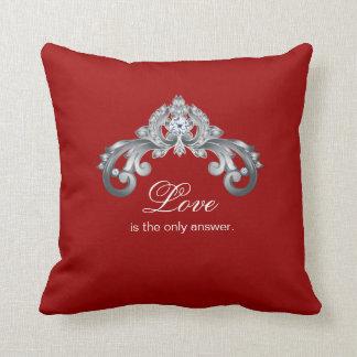 Love Monogram Wedding Silver Black White Throw Pillow