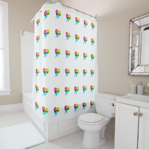 Love More Hate Less Be Happy Multi Colored Hearts Shower Curtain