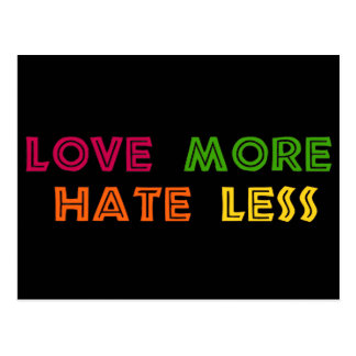 Love More Hate Less Postcard