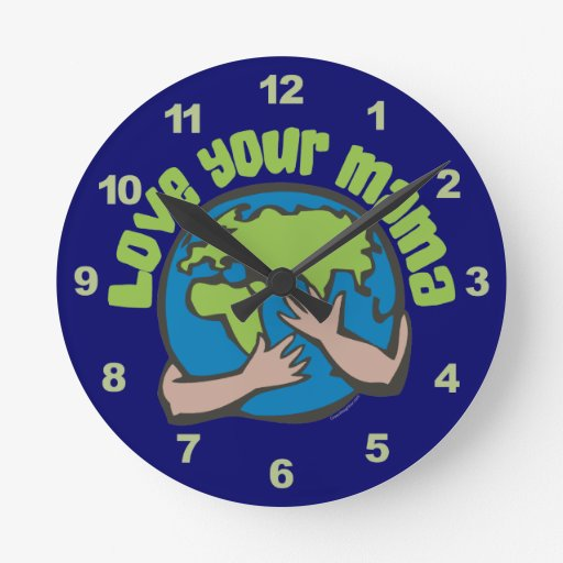 Love Mother Earth Round Wall Clock