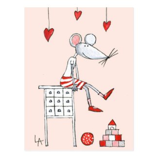Love Mouse With Hearts Post Card