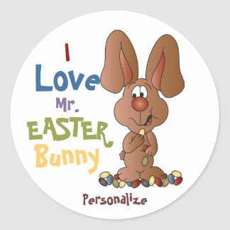 Love Mr. Easter Bunny Classic Round Sticker