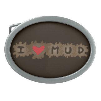 Love Mud Oval Belt Buckle