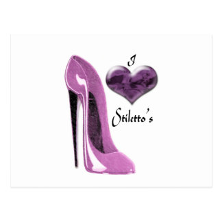 Love Mulberry Pink Stiletto Shoe and 3D Heart Post Cards