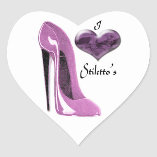 Love Mulberry Pink Stiletto Shoe and Heart Heart Sticker