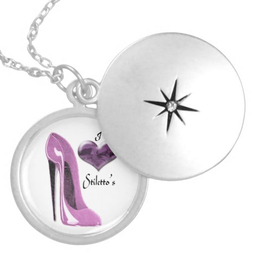 Love Mulberry Pink Stiletto Shoe and Heart Necklac Locket