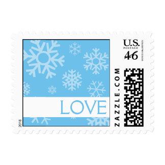 Love Multiple Snowflakes Postage Sky Blue