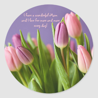 Love Mum Gift Tulips Pink and Violet Classic Round Sticker