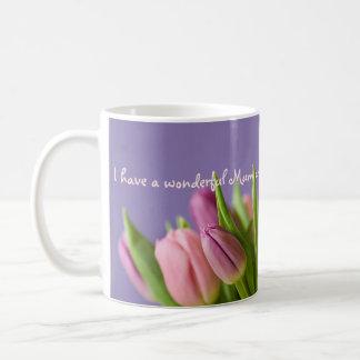 Love Mum Gift Tulips Pink and Violet Coffee Mug