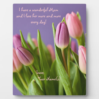 Love Mum Gift Tulips Pink and Violet Plaque