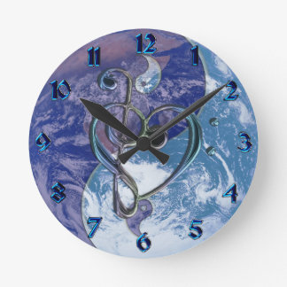 Love Music Clef Heart Yin-Yang Earth Clock