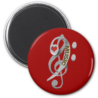 Love Music Clef Sculpture Magnet