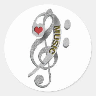 Love Music Clef Sculpture Round Sticker
