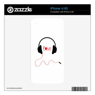 Love Music Decals For iPhone 4S