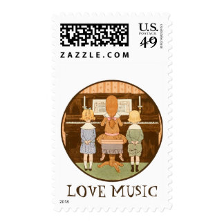LOVE MUSIC, FRENCH PIANO MUSIC LESSON, KIDS CHOIR POSTAGE