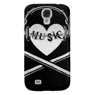 Love Music Headphones Skull and Crossbones Samsung Galaxy S4 Cover