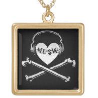 Love Music Headphones Skull and Crossbones Jewelry
