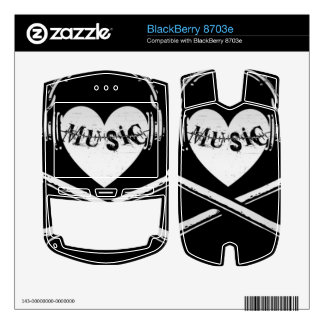 Love Music Headphones Skull and Crossbones BlackBerry 8703e Decals