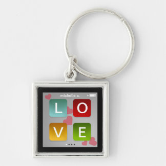 LOVE music player key fob ring ipod touch inspired