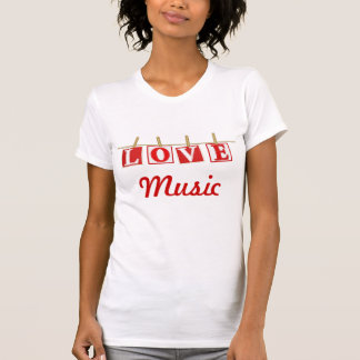 Love Music - Red and White Patchwork Effect Tshirt
