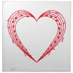 love music, red heart with musical notes printed napkin