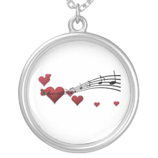 love music silver plated necklace