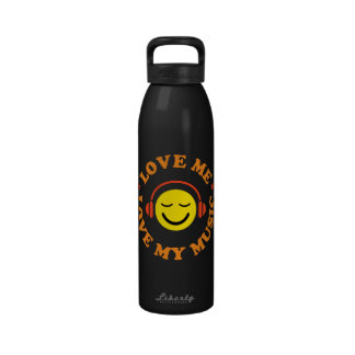 Love music smiley with headphones water bottle