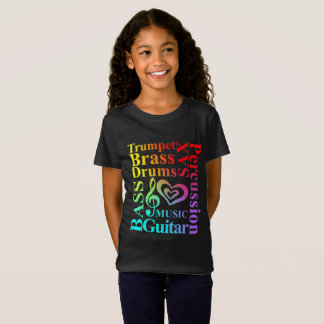 love Music Themed Typography Colorful Text Graphic T-Shirt