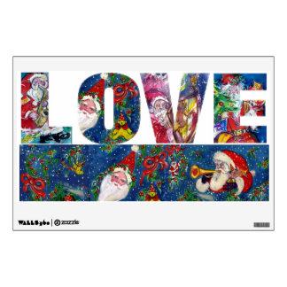 LOVE .  MUSICAL SANTA  XMAS NIGHT PARTY WALL STICKER