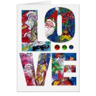 LOVE MUSICAL  SANTA XMAS PARTY GREETING CARD