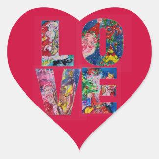 LOVE MUSICAL  SANTA XMAS PARTY HEART HEART STICKER