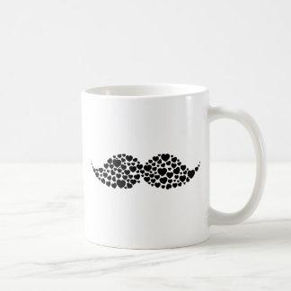 Love mustache hearts coffee mug