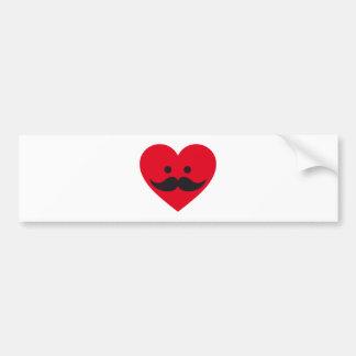 love mustache, red heart face bumper sticker