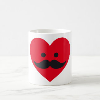 love mustache, red heart face coffee mug