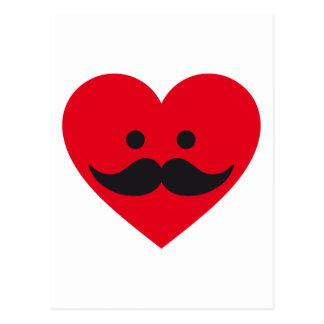 love mustache, red heart face postcard