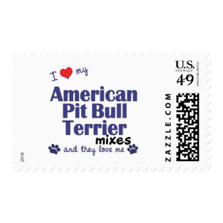 Love My Amer. Pit Bull Terrier Mixes (Multi Dogs) Postage Stamp