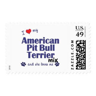 Love My American Pit Bull Terrier Mix (Female Dog) Stamp