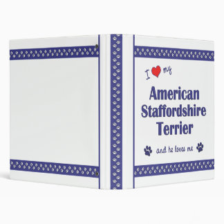 Love My American Staffordshire Terrier (Male Dog) 3 Ring Binder