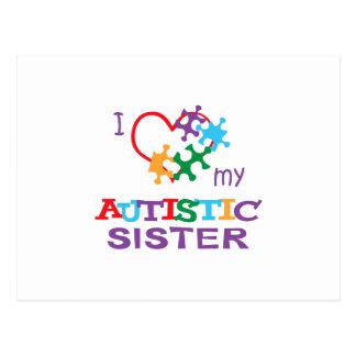 LOVE MY AUTISTIC SISTER POSTCARD