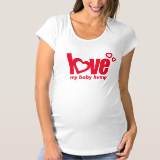Love my baby bump red heart maternity tee