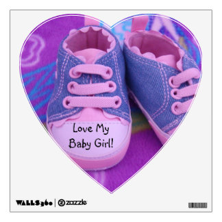Love My Baby Girl! heart shape wall decal shoes