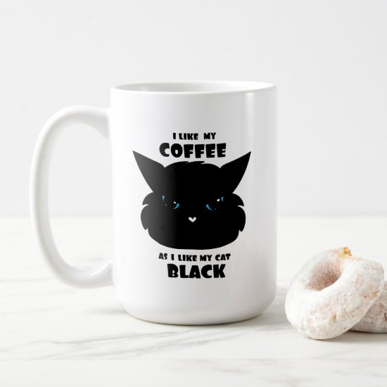Love My Black Coffee and Black Cat Coffee Mug